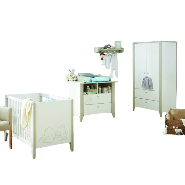 Babyzimmer Bärchen 4-teilig weiß / grau