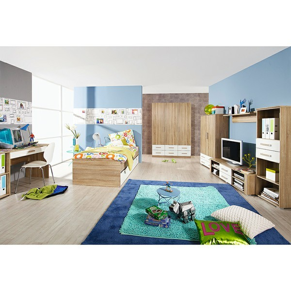 kinderzimmer aaltje 3 teilig wei grau kinder jugendzimmer. Black Bedroom Furniture Sets. Home Design Ideas