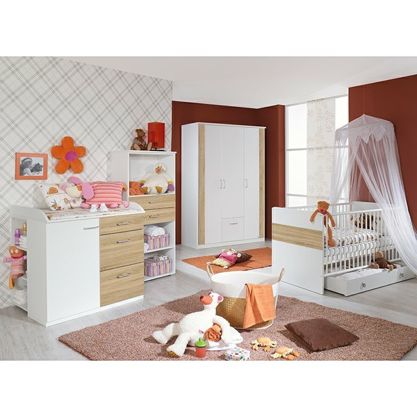 babyzimmer tiamo 3 teilig wei grau babyzimmer. Black Bedroom Furniture Sets. Home Design Ideas