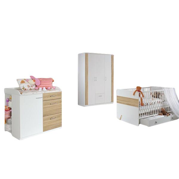 Babyzimmer Tiamo 3-teilig weiß / grau