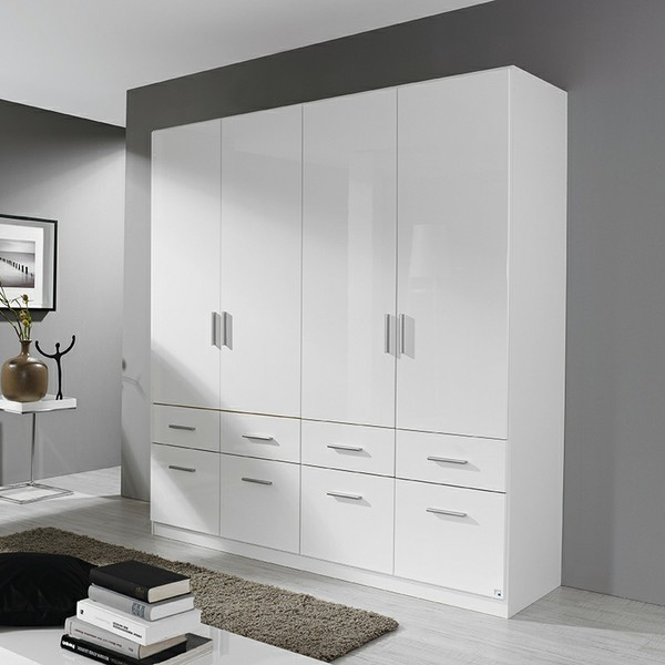 kleiderschrank ademaro hochglanz wei 4 t ren b 181 cm kleiderschr nke. Black Bedroom Furniture Sets. Home Design Ideas