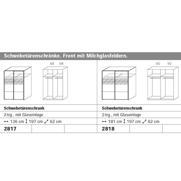 Schwebetürenschrank Adrian 2 grau 2 Türen B 136 cm