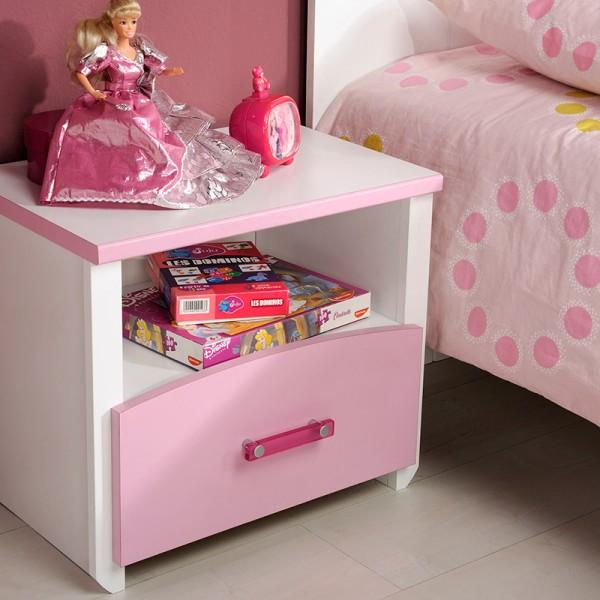 Kinderbett Biotiful Parisot inkl Nako Weiß / Rosa