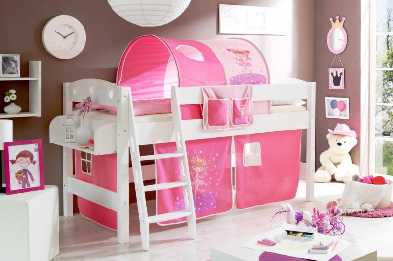 hochbett malin inkl vorhang kiefer massiv wei hochbetten spielbetten. Black Bedroom Furniture Sets. Home Design Ideas