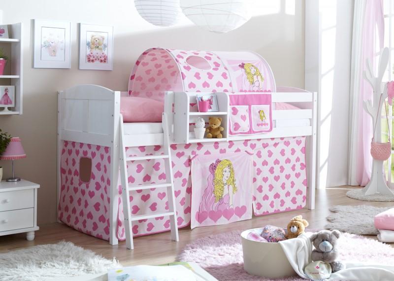 hochbett maris inkl vorhang kiefer massiv wei hochbetten spielbetten. Black Bedroom Furniture Sets. Home Design Ideas