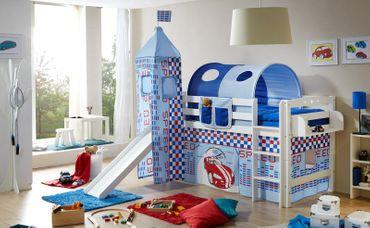 Rutschbett Joy inkl Turm + Vorhang Buche massiv Weiß