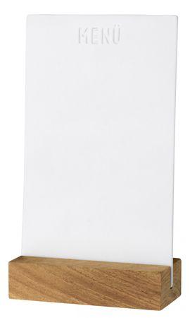 WINTERTAFEL Menütafel Porzellan weiß beschreibbar mit Holzfuß Räder