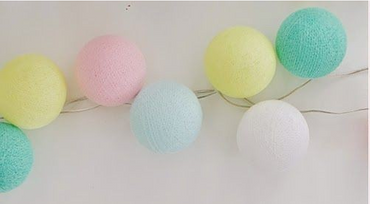 Lichterkette Textil Ball Girlande Lampions COLORES DE MI ALMA mit 10, 20, oder 35 Kugeln Cotton Ball Lights – Bild 1