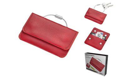 Kreditkartenetui und Schlüsselanhänger COLORI rot/schwarz Troika