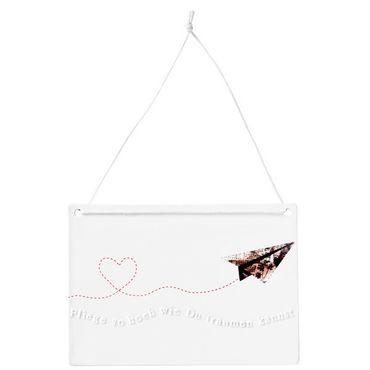 Porzellanbotschaften Schild Tafel Dekoration Fliege so hoch wie du träumen kannst Räder – Bild 1