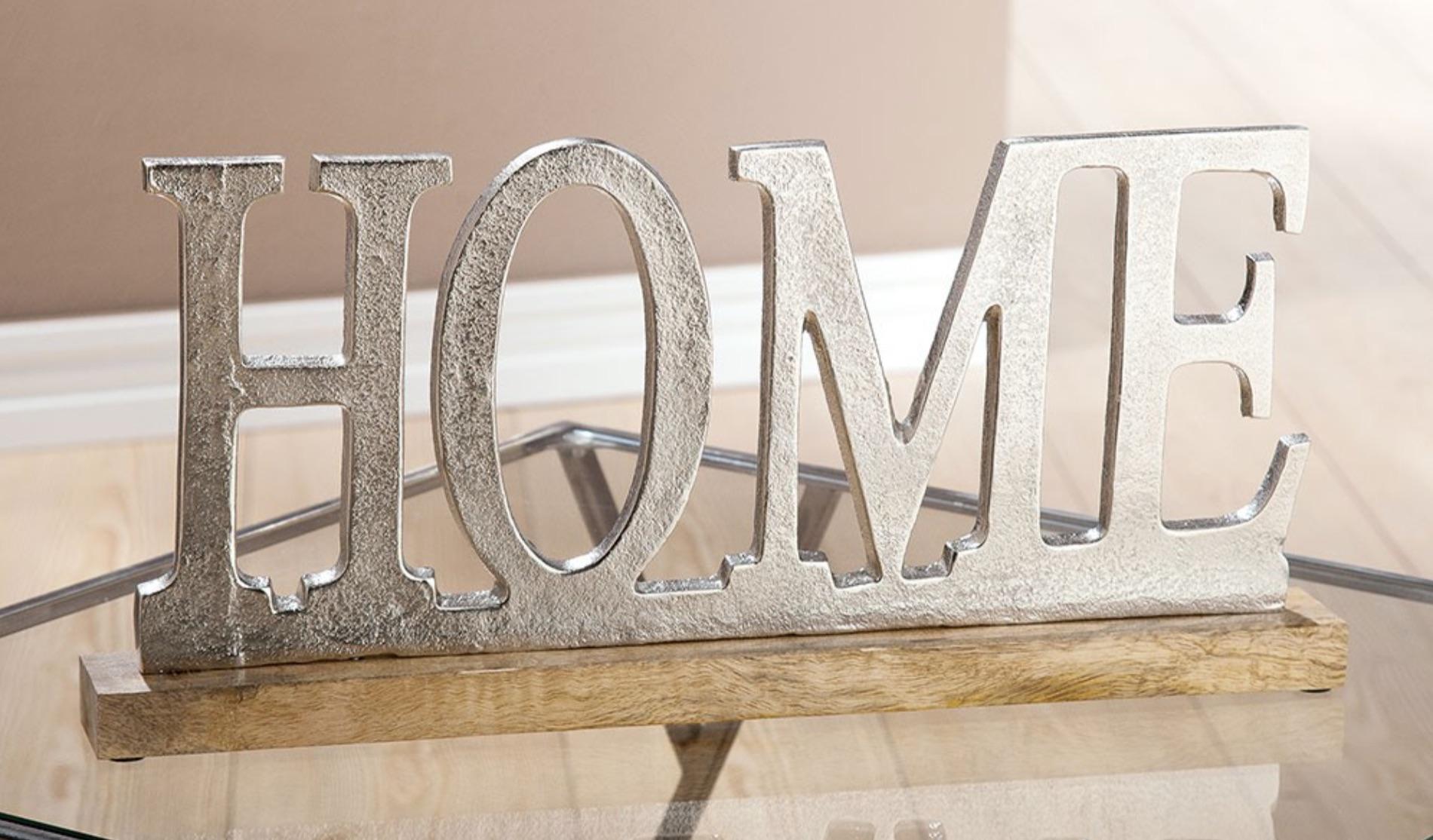 Deko Alu Schriftzug Home Auf Holzbase Silber Mangoholz Living