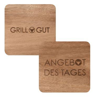 "PeT GRILL GUT Untersetzer 4er Set Akazienholz ""Grill Gut + Angebot des Tages"", Räder Design – Bild 1"