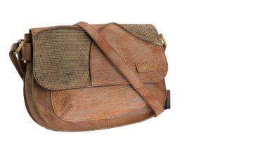 Saddelbag Leder Handtasche natur washed Patchwork LANDLEDER