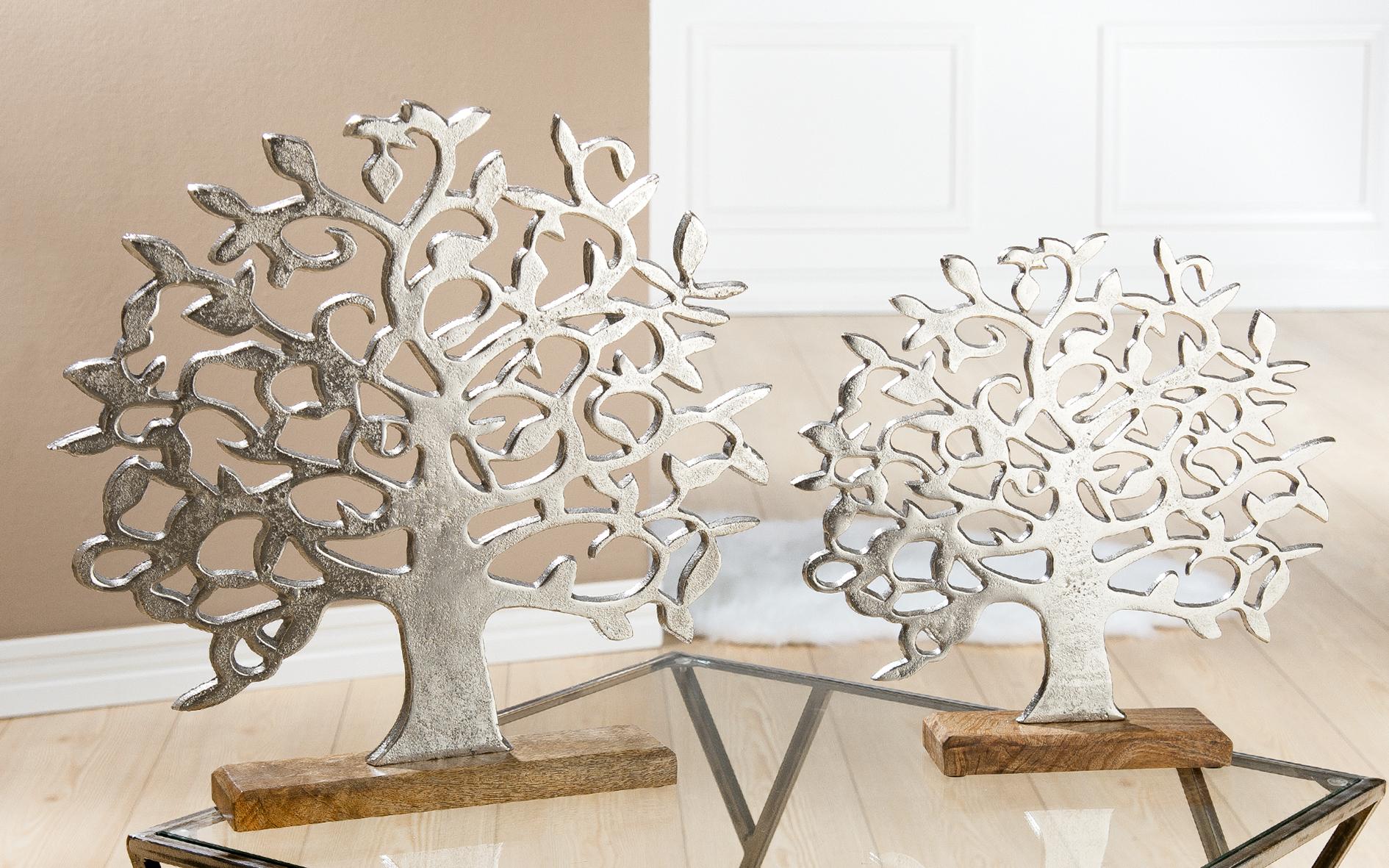 Tischdeko Alu Lebensbaum Auf Holzbase Silber Gilde Living