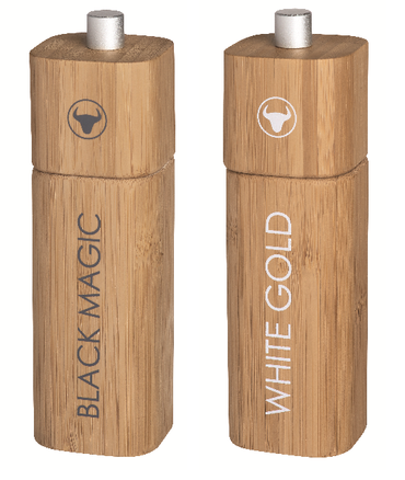 "Salzmühle ""White Gold"" + Pfeffermühle ""Black Magic"" Set - Räder Design"