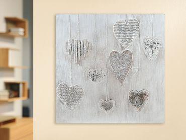 "3D Gemälde ""Silver Hearts"" Silberne Herzen creme/silber/grau - Gilde Handwerk"