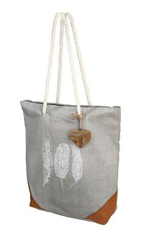 """Tasche """"Feder"""" grau/weiß/braun - Gilde Handwerk"""