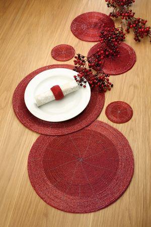 Platzset Tischset Ø 35 cm 2er Set Glasperlen rot - Gilde Handwerk