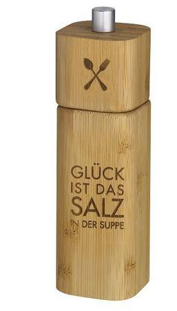 """Salzmühle Holz """"Glück ist das Salz in der Suppe"""" - Räder Design"""