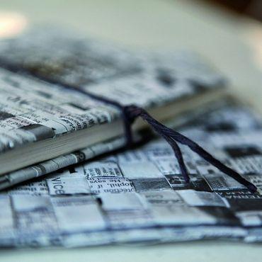 """Zeitungspapier Notizbuch """"Man muss immer"""" Schreibheft DIN A5 - Räder Design  – Bild 2"""