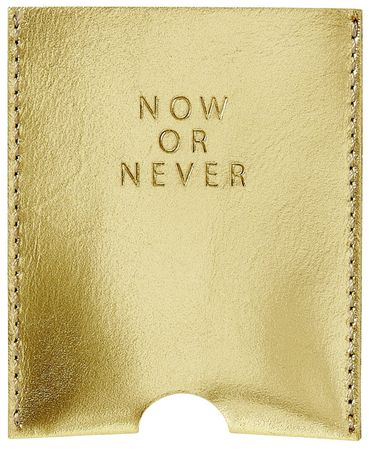 "Kartenetui Visitenkartenetui ""Now or Never"" Leder gold - Räder Design – Bild 1"