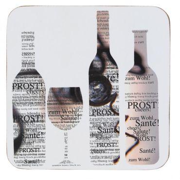 """6er Set Kork Wein, -Glasuntersetzer """"Santé, Cheers, Prost"""" - Räder Design"""