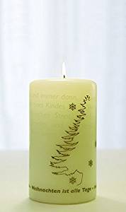 """Wortlichtkerze """"Wann ist Weihnachten"""" Wollweiß Bulla Design – Bild 1"""