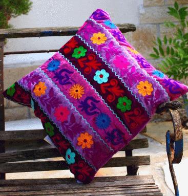 "Dekokissen Samt ""Ari"" Kissen 40x40cm violett - Pagoda – Bild 2"