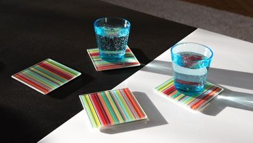 "4er Set Glasuntersetzer ""Stripes"" - Remember  – Bild 1"