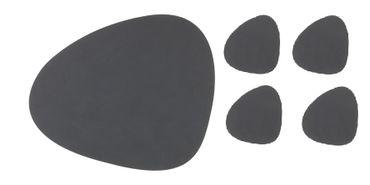 8-teilig Tischset Curve L Nupo (4 Stk.) + Glasuntersetzer Curve (4 Stk.) anthrazit - LindDNA
