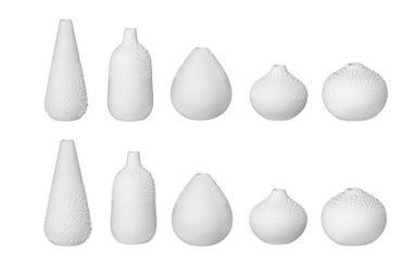 """Blumenvasen Mini PERLENVASE """"DESIGN 1-5"""" 10er  Set weiß - Räder Design – Bild 1"""