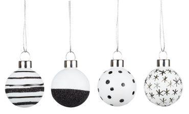 Weihnachtsschmuck Weihnachtskugeln 4 Set schwarz/weiß -  Räder Design – Bild 1