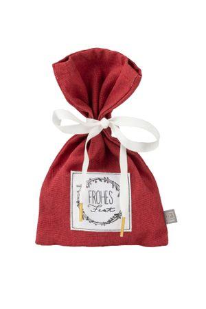 """Geschenkverpackung Weihnachtssäckchen klein rot """"Frohes Fest"""" - Räder Design"""