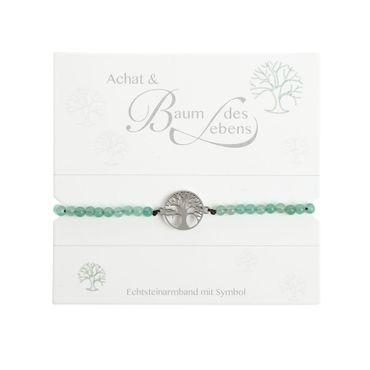 "Armband Glücksarmband Echtstein grüner Achat ""Baum des Lebens"" - H.C.A. – Bild 2"
