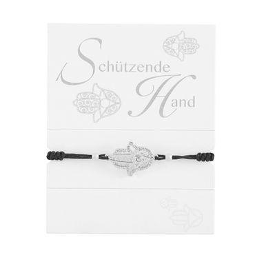 "Geknüpftes Armband Glücksarmband ""Schützende Hand"" Kristallen veredelt roségold - H.C.A."
