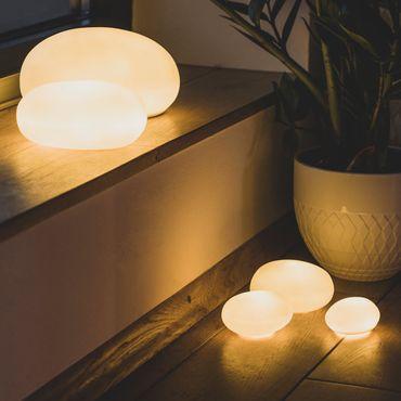 Deko Leuchte Porzellanleuchte  Kieselsteinleuchte groß - Räder Design Living – Bild 1