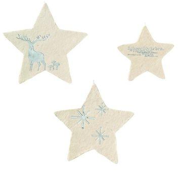 Winterzeit Papiersterne 3er Set HIRSCH weiß / silber Weihnachtssterne