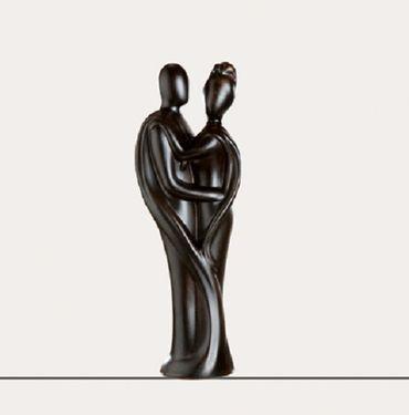 Skulptur Francis Paar HERZTUCH braun Paarfigur