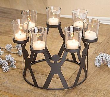 Kerzenleuchter Teelichthalter Leuchterkreis Metall 7 flammig