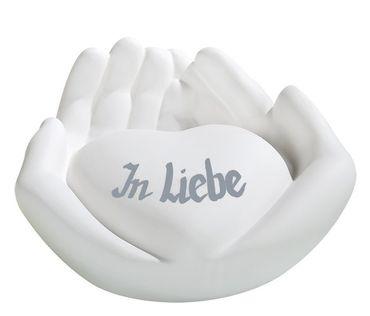 Skulptur, Deko Herz in Händepaar, mit individueller Widmung möglich – Bild 3