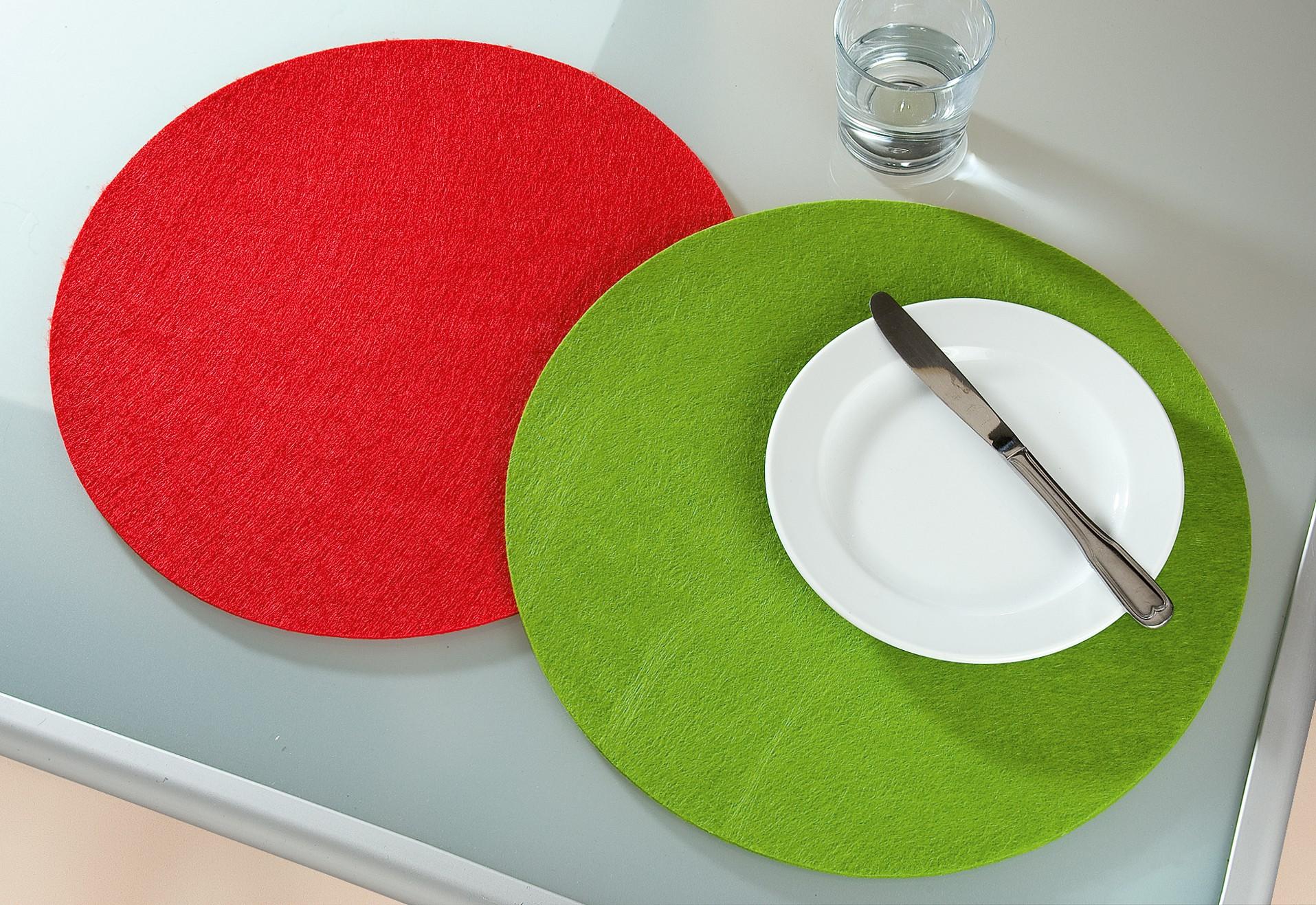 4 x Platzset Filz rund grün Breite 35 cm Untersetzer Tischdeko Untersteller