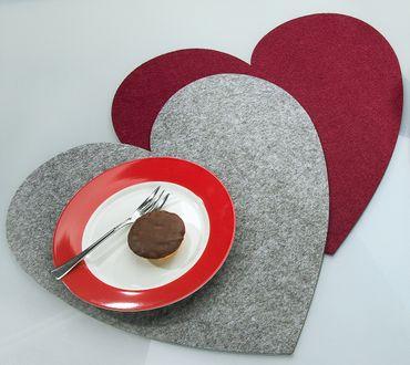 Platzset Herz groß Ø 40 cm Tischset Filz 4er Set Gilde – Bild 3