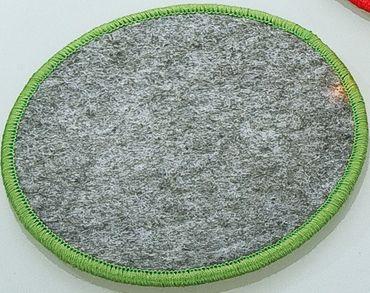 Filzuntersetzer rund mit Saum farbig umsäumt Rand gesäumt Filz Untersetzer 4er Set Gilde – Bild 1