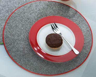 Platzset Tischset rund Ø 35 cm mit Saum farbig umsäumt Rand gesäumt Filz Untersetzer 4er Set Gilde – Bild 2