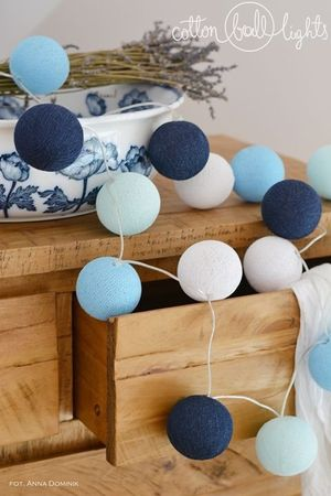 Lichterkette Textil Ball Girlande Lampions BIG BLUE 10, 20, 35 oder 50 Kugeln Cotton Ball Lights – Bild 2