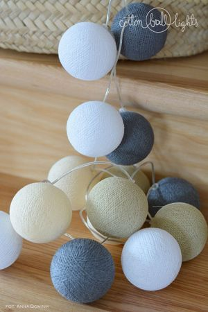 Lichterkette Textil Ball Girlande Lampions MISTY 20 Kugeln Cotton Ball Lights – Bild 1