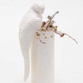 Papagei Sebastian Junior Porzellanvogel mit Einkerbung - O living