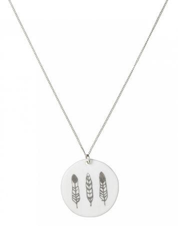 Halskette Kette Porzellankette SEI FRECH... versilbert L 81 cm Räder – Bild 1
