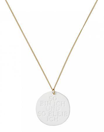 Halskette Kette Porzellankette SO BIN ICH... vergoldet L 81 cm Räder – Bild 2