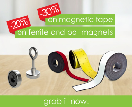 30% on magnetic tape / 20% on ferrit and pot magnets